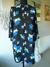 WAREHOUSE INK ROSE BLACK & BLUE FLORAL TUNIC DRESS - SIZE 10