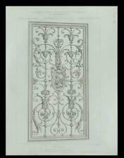 PANNEAU EN FER FORGE - 1875 - GRAVURE ARCHITECTURE - AUGUSTE BAUDRIT, GRILLE