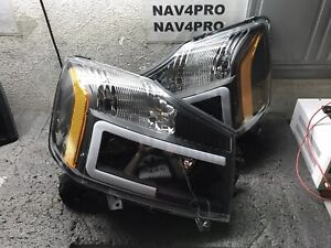 2004-2015 Nissan Titan 2004-2007 Armada LED Bar DRL Halogen Headlight Pair #H170
