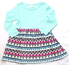 New Gymboree Girls Dress 4T Valentines Day Hearts Pink Blue Long Sleeve Print