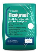 White tile grout. Flexible and Fast Setting Wide Joint Floor and Wall Grout 5KG