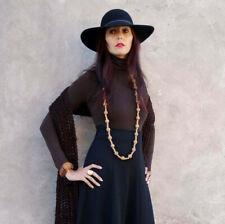 Cappello Donna Nero Lana 100% Tesa Larga ASOS Boho Style Tg S 54 cm