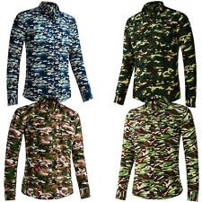 Mens  Shirt Smart Military Camouflage Fashion Design Longsleeve Slim Fit