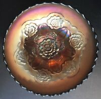 """VINTAGE ANTIQUE DUGAN """"DOUBLE STEM ROSE"""" DOME FOOTED CARNIVAL GLASS BOWL 7"""""""