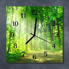 Glass Wall Clock Kitchen Clocks 30x30 cm silent Forest Nature Green