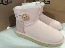 New in box UGG Mini Bailey Button Pink SLPN Boots women's Size 5 Youth Sz 3 $140