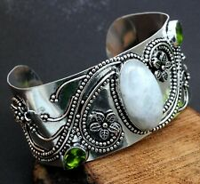 Nicky Butler Garnet and Pearl 925 Sterling Silver Cuff Bracelet  Ornate Multi Stone Cuff Bracelet Red and White Stone Cuff WhistlingGypsyVTG