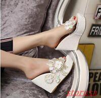 Womens New Open Toe Platform Wedge High Heels Floral Slippers Pump Sandals Mules