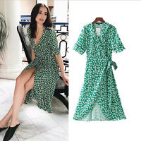 Green Wrap Midi Dress Short Sleeve Floral Print Vintage UK 8 10 12 Blooger