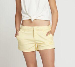 "NWT Volcom Women's Frochickie 3"" Chino Short, Faded Lemon Size 31"