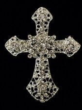 Rhinestone Cross Brooch Baptism Communion Party Pin Silver Decoration Item#45