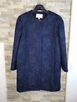 New Jacques Vert Ladies Size 14 Petite Embroidered Floral Blue Jacket RRP £189