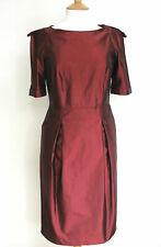 Burberry Metallic Burgundy Red Plum Pencil Military Dress UK 8
