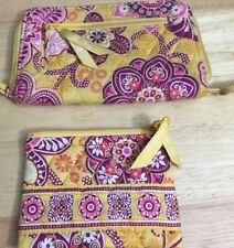 Vintage Vera Bradley, ZIppered Wallet and Coin Purse Burgundy &  Yellow