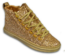 Fiesso Men's Shiny Gold Glitter High Top Ankle Fancy Fashion Sneakers Size 13