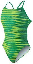 Nike Foil Skin Cut Out Tank Green/Lime Swimsuit 1pc TFSS0006-300  SZ 36/10