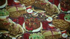 LINED VALANCE 42X15 HOLIDAY APPLE PIE CIDER FRUIT CAKE CINNAMON DESSERT TABLE