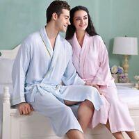 Haoland Unisex Warm Long Sleeved Bathrobe Bamboo Fabric Thick Sleepwear Pyjamas