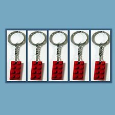 5 Lot Key Chain w/ Lego 3020 2x4 Red brick Plate Gift, Party Favor, Game Prize