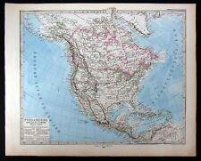 1880 Stieler Map - North America United States Canada Mexico West Indies Alaska