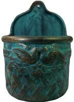 Terra Cotta Blue/Gold Glazed Pottery Large Hanging Planter Bird Motif
