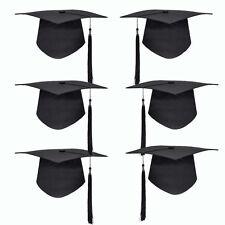 Black Mortar Board Hat Adults Teacher Student College Graduation Cap Costume