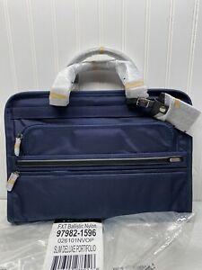 TUMI Alpha Bravo Slim Deluxe Portfolio Ballistic Nylon Briefcase Bag Blue NEW