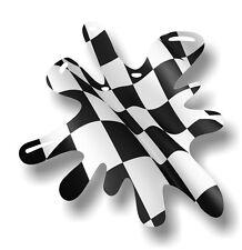 Retro Old School SPLAT & B&W Chequered Racing Flag vinyl car sticker decal