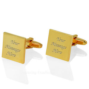 Personalised Gold Plated Square Cufflinks, FREE Engraving Mens Gift, Groomsmen