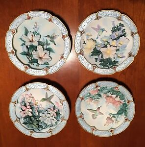 MORNING JEWELS FROM LENA LIU 4 WALL PLAQUES Limited Edition Plates, Complete Set