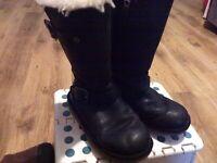 GIRLS BLACK LEATHER UGG AUSTRALIA 12KIDS SHEEPSKIN ZIP WINTER WARM COZY BOOTS