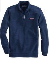 NWT Vineyard Vines Sweater Fleece Shep Shirt Pullover XL Deep Bay Blue MSRP $135