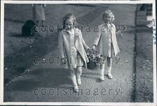 1939 Norway Princess Ragnhild & Astrid Daughters Crown Prince Olaf Press Photo
