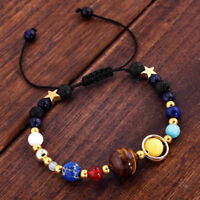 New Universe Solar System Galaxy Eight Planets Stone Beads Braided Bracelet GIFT