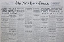 4-1936  April 14 BRITAIN TO ESCHEW ARMED SANCTIONS AGAINST ITALIANS; SUEZ  Times