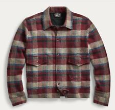 RRL Ralph Lauren 1940s Inspired Moto Club Plaid Wool Cashmere Sweater Jacket- M