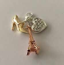 ROSE GOLD EIFFEL TOWER +GOLD SHOE + RHINE HEART  CLIP ON CHARM -SILVER PLATE -3D