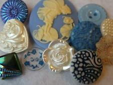 New listing Beautiful Blue Vintage & New Buttons Cameo Flower Buffed Glass +
