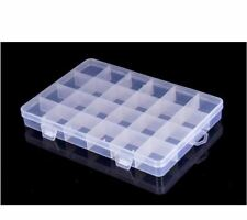 24 Grids Compartments Jewellery Bead Earrings Rings Storage Box Case Organise