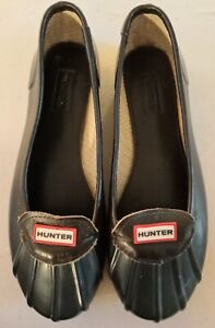 HUNTER Womens Rubber Shoes Leather Trim Navy And Brown Size 9(US) Great Tread!