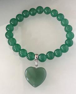 UK. Protection Stress Relief Lucky Love Heart Green Aventurine Crystal Bracelet.