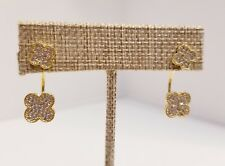Yellow Gold Plated & Sparkling CZ Pave Clover Studs with Jacket Earrings