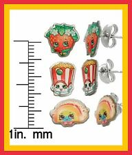 Shopkins S.S. CHILDREN  Earring Trio Set Strawberry Kiss,Poppy Corn,RainbowBite