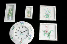 5 Piece 3D Wall Relief Resin Painted Floral Wall Clock & Picture Set Home Decor