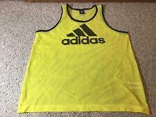 Adidas Mesh - Soccer - Sports - Pinnie Tank Jersey Yellow Size Medium 3 Stripes