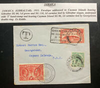 1933 Gibraltar Postage Due Slogan Cancel Cover To Georgetown Cayman Island