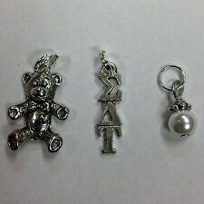 Bulk lot - 3 Sigma Delta Tau lavaliere, teddy bear & pearl dangle FREE SHIPPING