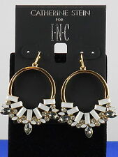 Catherine Stein For I.N.C. Gold White Gray Set Stone Drop Hoop Earrings $26.50