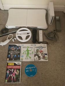 nintendo wii bundle, Wii Fit Board 5 Games Including Mario Kart, Just Dance