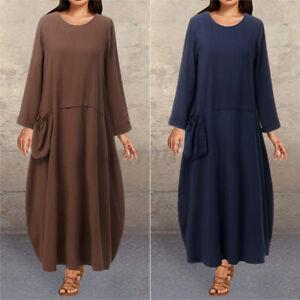 ZANZEA UK Womne Cotton Long Sleeve O-Neck Pure Color Dress Pocket Maxi Plus Size